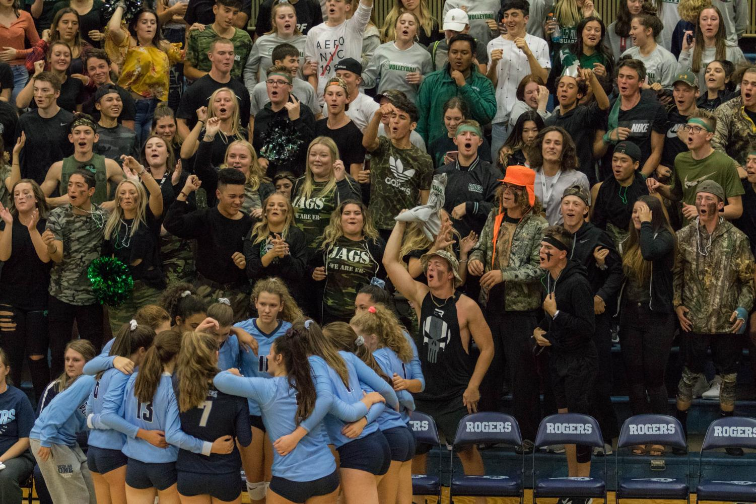 The Emerald Ridge cheering section made plenty of noise behind the Rogers bench at the Queen of the Hill contest on Sept. 26, 2018.