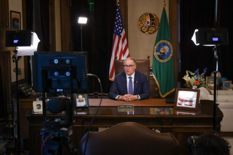Washington State Gov. Jay Inslee delivers an address on March 23, 2020. (Photo from the official Washington State Office of the Governor)